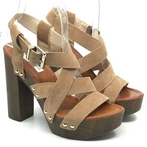 INC TAN SUEDE STRAPPY CHUNKY WOODEN HIGH HEEL
